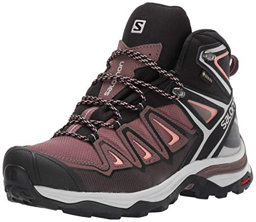 SALOMON Women's X Ultra 3 Mid GTX High Rise Hiking Shoes, Yellow Peppercorn Black Coral Almond 000, 5 UK