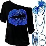 Blulu Juego de Accesorios de Disfraz de los Años 1980 de Mujeres, T-Shirt Impreso de Labio Diadema Pendientes Collar Pulsera de Encaje para Fiesta Temática de los 1980 (Azul Real, S)