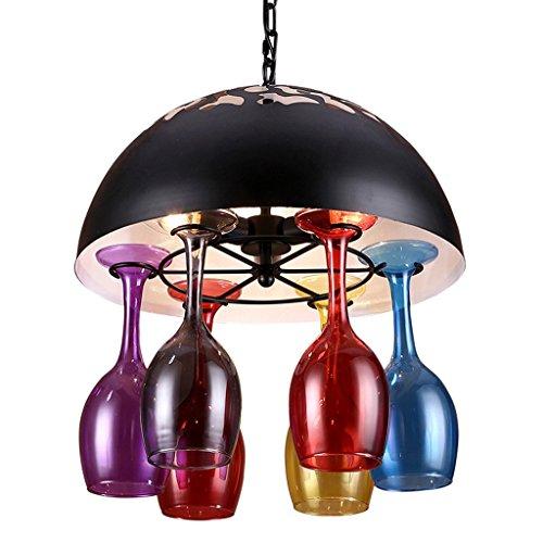 DD- Bar kroonluchter, creatief wijnglas kroonluchter ijzer industrie winds restaurant cafe bar startpagina glazen lampen en lantaarns 3-4 hoofd E14, hangende ketting 60 cm verstelbaar