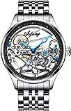 ZFAYFMA Reloj automático para hombre, de acero inoxidable, resistente al agua, con mecanismo mecánico completamente transparente., Hombre, plata