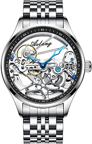 ZFAYFMA Reloj Automático, Reloj Hueco De Viento De Acero Inoxidable De Lujo Resistente Al Agua para Hombres, con Esfera Mecánica Totalmente Transparente Silver