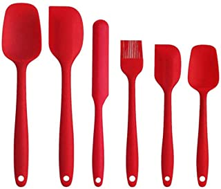 Silicone Spatula Set 6pcs - Seamless Rubber Spatulas 500°F Heat Resistant with Stainless Steel Core, Kitchen Utensils Non-...