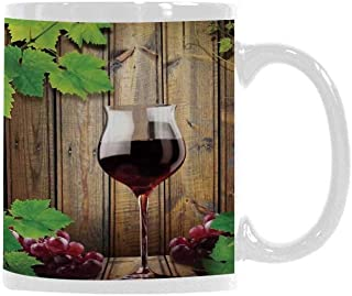 Modern Trend Mug,Wine Glass Grapes Rustic Wood Kitchenware Home and Cafe Interior Art Design Decorative for Office Travel,3