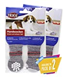 Trixie Non-Slip Grey Dog Socks, Booties, Boots, S-M, 1 Pair Pack of 2