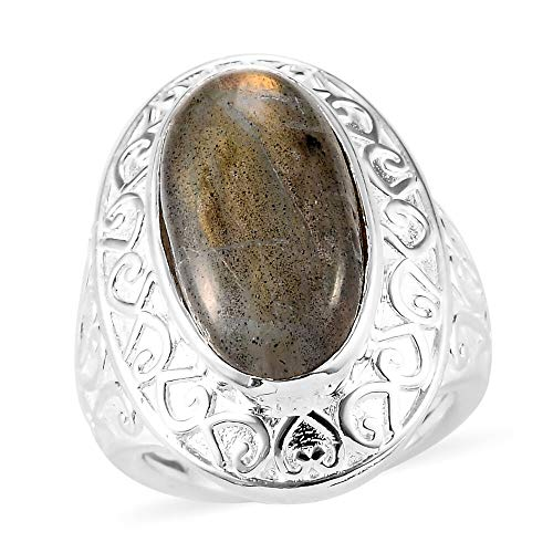 TJC Solitaire Ring for Women Size T Labradorite Engagement Jewellery