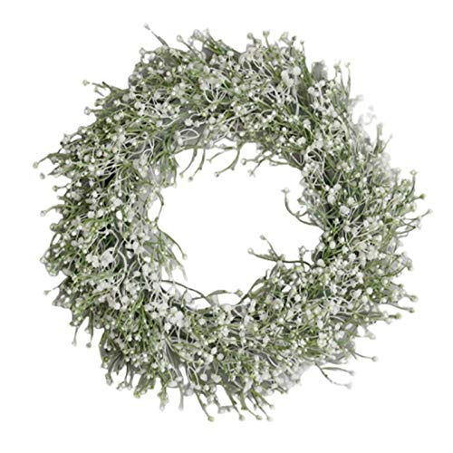 Mdjywl Babysbreath Wreath Garland for Party Weddings Front Door Decoration for Party Wedding Decoration Decorat (Color : White, Diameter : 40CM)
