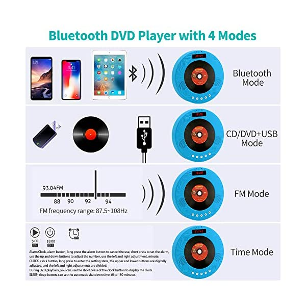Portable CD/DVD Player with Bluetooth,Wall Mountable Personal Compact Disc Player with Built-in HiFi Speakers/LED Display/FM Radio/Remote Control/AUX Input Output (Blue) 6
