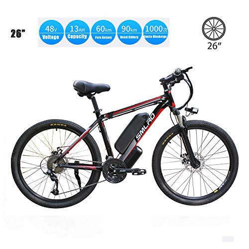 YMhome Bicicleta eléctrica, 26' Electric City E-Bici Bicicleta con 350W sin escobillas del Motor Trasero para Adultos, 36V / 13Ah batería extraíble de Litio,Black Red