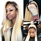 Black Roots Blonde Lace Front Wigs 20 Inch Real...