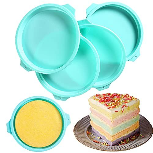 LAVECAR Latas de silicona para tartas, molde redondo de 8 pulgadas, antiadherentes y de liberación rápida de silicona para pasteles de capa, tarta de queso, pastel de arco iris, pastel de gasa
