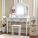 Fineboard Elegant Vanity Set Makeup Dressing Table with 3 Mirrors and Stool, 4 Drawers, White