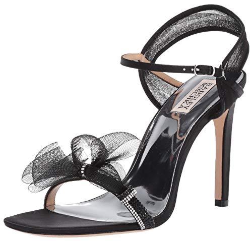 Badgley Mischka Women's Jessica Heeled Sandal, Black Satin, 10 M US