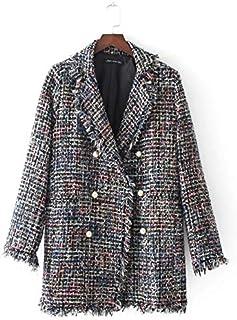 HAWEEL Medium Long Tweed Pearl Fringe Women Coat Windbreaker Jacket