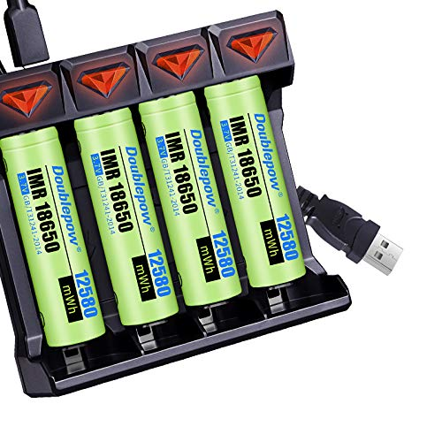Doublepow 18650 Battery Charger, Universal 4 Slot USB Quick Led Charger, Compatible with 3.7 Volt Rechargeable Lithium Ion Battery 26650 21700 18650 16340 14500 10440
