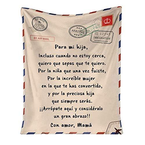 Taloit Manta de forro polar para mi hija hijo, cómoda y suave, con mensaje personalizado, carta de mensaje, manta de franela, manta duradera para el hogar