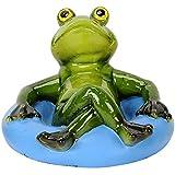 Pommerntraum ® | Schwimmfrosch Schwimmfrösche Teichdeko Teichfigur Gartendeko Schwimmtier Dekofigur Gartenteich SwimmingPool Aquarium (Blauer Schwimmreifen)