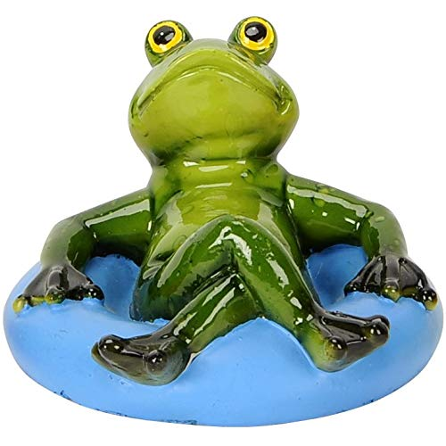 Pommerntraum ®   Schwimmfrosch Schwimmfrösche Teichdeko Teichfigur Gartendeko Schwimmtier Dekofigur Gartenteich SwimmingPool Aquarium (Blauer Schwimmreifen)