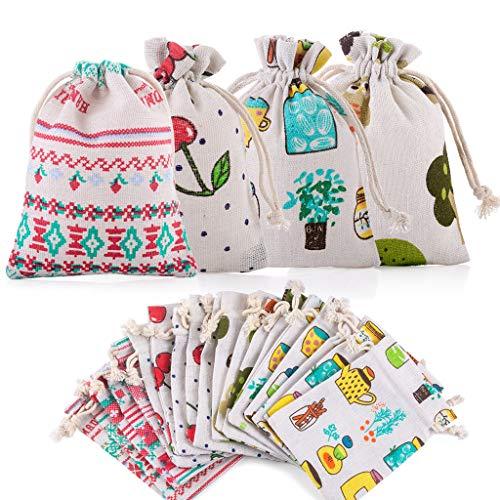 24 sacos de yute de lino para joyas, para Navidad, cumpleaños infantiles, bodas, fiestas, manualidades