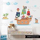 StarStick - Gran barco pirata 145X80 cm - Vinilos infantiles - T2 - Mediano