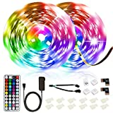 SHOPLED LED Strip Lights 32.8ft/10M RGB SMD 5050 Black LED Color Changing Light Strip Kits with RF Remote for Bedroom, TV, Kitchen, Ceiling, Indoor Decorations, Party, Festive, Easy Installation
