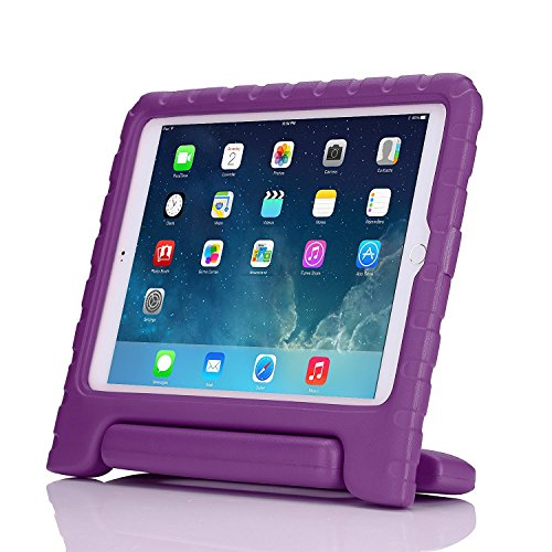 iPad Air 2 Case - Travellor Kids Light Weight Kido Series Multi Function Convertible Handle Kickstand Kids Friendly Protective Shockproof Cover with Stand & Handle for Apple iPad Air 2 (Purple)