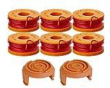 WA0004.1 Confezione da 6 bobine di filo per decespugliatore Worx da 20 V, 3 m di lunghezza e 1,65 mm di diametro, con 2 coperture