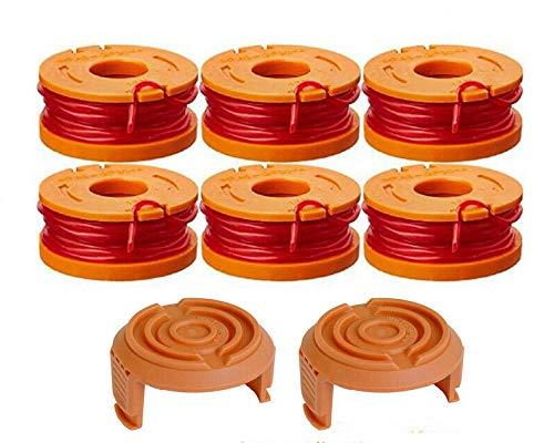 FEXEVON WA0004.1 - Hilo para desbrozadora WORX de 20 V, 6 x 9 m de longitud, bobina de 1,5 mm de diámetro de hilo + 2 tapas para cortacésped Worx