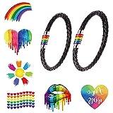 Bibivisa LGBT Bracelet, 2 pièces Gay Pride Acier Inoxydable titanique Rainbow Bracelet en Cuir avec Tatouages Arc-en-Ciel pour Hommes Femmes