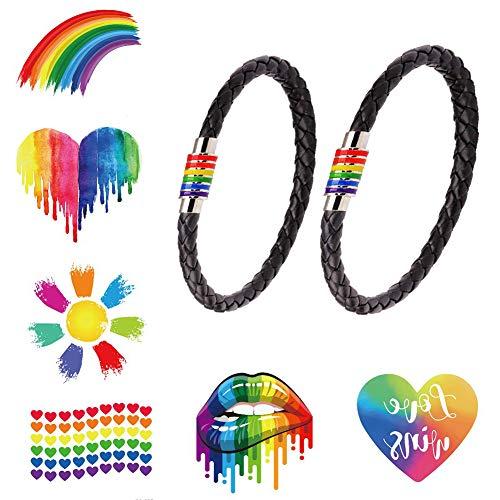 LGBT Pulsera 8 PACK - 2x Cuero Negro De Pareja Brazalete con Arco Iris Magnético Acero Inoxidable Rayado Orgullo Gay LGTBI Joyería con 6x Tatuajes Temporales para Desfile del Mes del Orgullo Gay