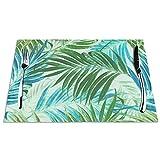 Tcerlcir Set di 6 Tovagliette Foglie di Palma in Azzurro Cielo Lavabile Antiscivolo Resistente al Calore per la Cucina e la tavola 45x30cm
