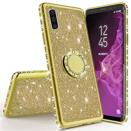 Miagon Hülle Glitzer für Samsung Galaxy A30S,Glänzend Mädchen Frauen Weich Silikon Handyhülle mit Strass Diamant 360 Grad Ständer Schutzhülle Etui Cover