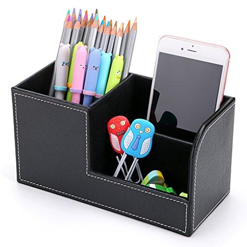 BTSKY Organizador de escritorio de piel sintética con 3 compartimentos, multifuncional, para oficina