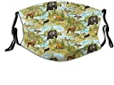Mascarilla rústica de oso de zorro alce de lago reutilizable lavable bufanda anti polvo bandanas para mujeres hombres adultos