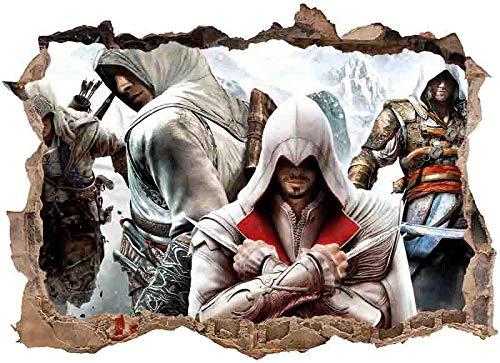 Animeenniv Assassin's Creed Wandtattoo Wasserdicht Anti-Fade Wanddekoration Wandaufkleber Wandsticker Wandbilder für Außenbereich, Garten, Badezimmer-80 * 120cm-E_80*120CM