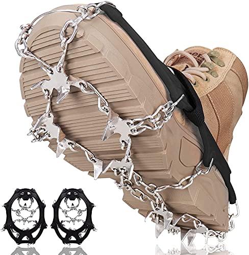 Seydrey Raki do butów górskich, pazury do butów z 19 zębami ze stali nierdzewnej i dwoma taśmami na rzepy, uniwersalne antypoślizgowe zaczepy do lodu, kolce lodowe, na zimę, spacery, wędrówki, wspinaczki górskie (czarne, XL)