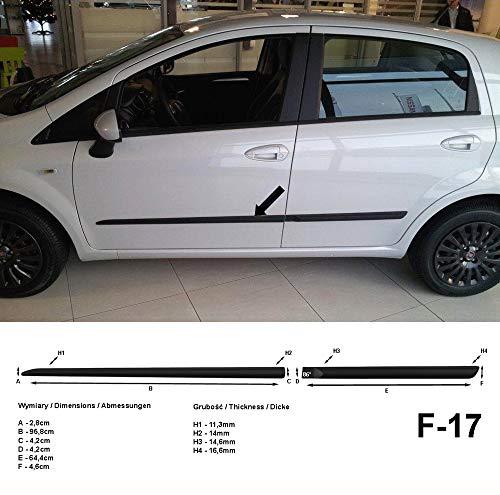 Spangenberg, bandes de protection latérales noires, compatible avec FIAT Punto type 199 5-portes de facelift à partir de l'année 01.2012- F17 (3700017)