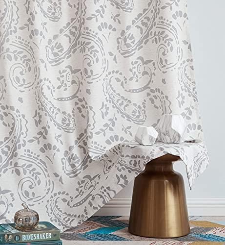 "Ronaldecor Gray Linen Window Treatment Sets Back Tab Rod Pocket Paisley Curtain Panels Extra Length Adjust Iron Tape, Soft Floral Print Drapes for Bedroom, Living Room, 52"" X 84""Inch, 2 Panels"