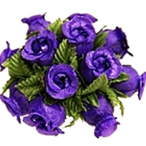 144 Miniature Poly Rose Silk Favor Flower Pick Wedding Shower – Purple