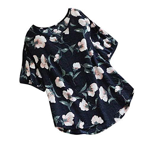 Zimuuy Zimuuy Damen Sommer Bluse, Frau Boho Vintage Beiläufig V-Ausschnitt Floral Print Kurzarm T Shirt Oberteile (L, Marine)
