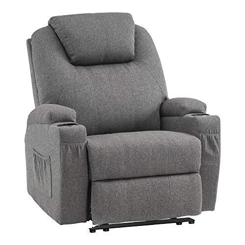 MCombo Massagesessel Fernsehsessel Relaxsessel mit Vibration+Heizung Stoffbezug Grau