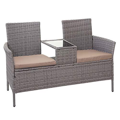 Mendler Divano Sofa per l'esterno Doppia Seduta con portavivande HWC-E24 polyrattan Grigio con Cuscini Avorio