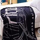 MXDFAFA Soft Cartoon Anime SAO Sword Art Online Kirito Printed Plush Coral Fleece Throw Blanket,Flano Fiber Summer Air Conditioning Blanket for Otaku Adults Teens Girls Boys