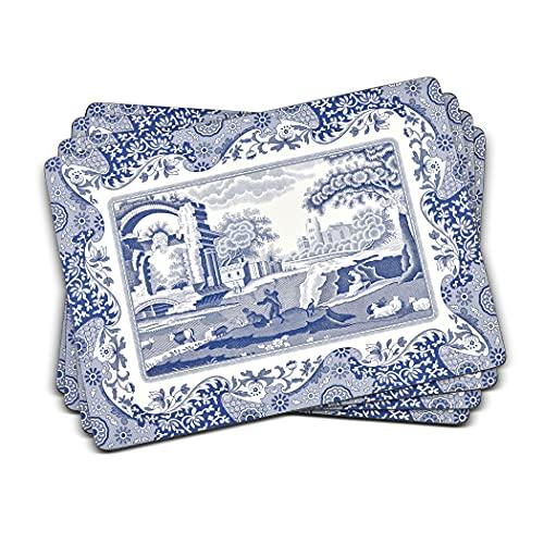 Sets de Table Italiens en Bois, Bleu et Blanc, 40,1 x 29 x 0,58 cm
