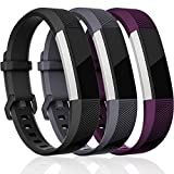 Maledan Replacement Bands Compatible for Fitbit Alta, Alta HR and Fitbit Ace, Classic Accessories Band Sport Strap for Fitbit Alta HR, Fitbit Alta and Fitbit Ace, 3 Pack, Black/Gray/Plum, Small