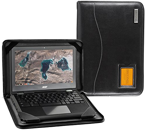Broonel - Contour Series - Black Heavy Duty Vegan Leather Protective Case Cover Compatible With The Acer Chromebook R13