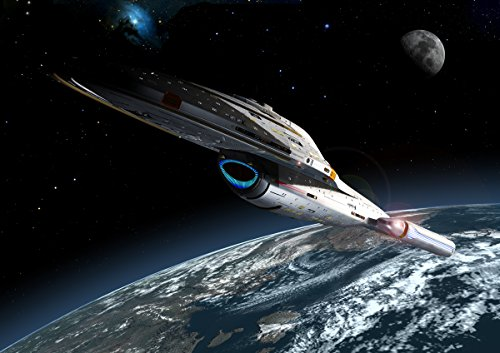 Star Trek Digitale Kunst Glossy drucken 'Voyager die Erde umkreist' (A2 420mm x 594mm)