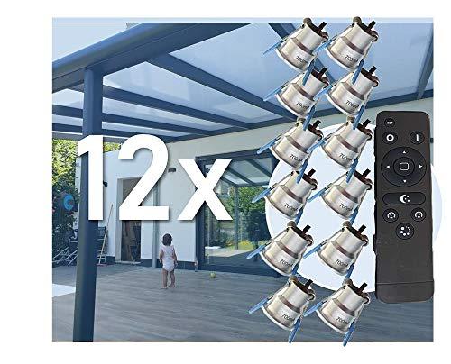 12X LED Beleuchtung 3W Dimmbar mit Fernsteuerung IP44 gegen Spritzwasser, Verlängerungskabel bis 4 Meter pro spot (Terrassenüberdachungen) Plug and Play