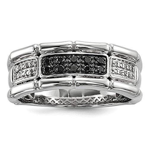 Sterling Plata Negro y Blanco Diamante Banda y anillo de compromiso para hombres (0.25ct)