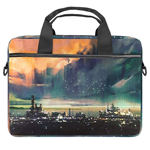 TIZORAX Laptop Bag Science Fiction City Landscape Notebook Sleeve with Handle 13.4-14.5 inches Carrying Shoulder Bag Briefcase
