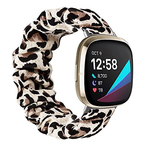 MoKo Cinturino Compatibile con Fitbit Versa 3 / Fitbit Sense, Braccialetto di Ricambio in Tessuto Elastico Regolabile Sportiva con Stampata per Donne e Ragazze, L, Leopardo